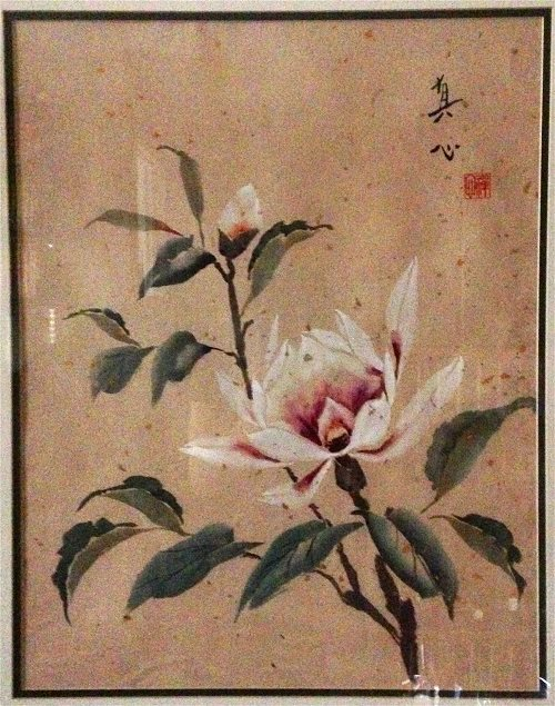 Magnolia by Diana Zen watercolor on gold-flecked double Shuen Xuan Paper